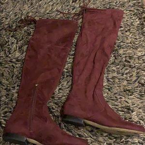 Maroon suede knee high boots (flat/ no heel)